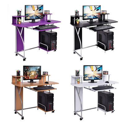 Home Office Computer Desk PC Laptop Table Study Workstation with Keyboard Shelf