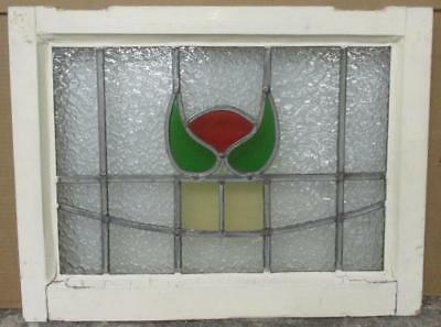 "OLD ENGLISH LEADED STAINED GLASS WINDOW Cute Abstract 21.5"" x 16.5"""