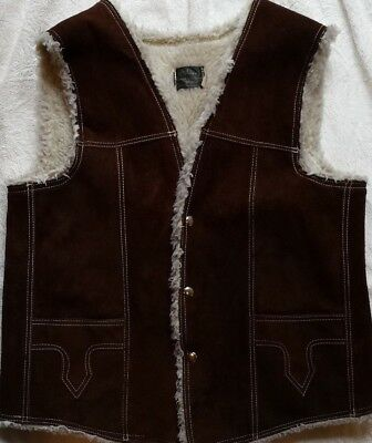 Silver's Mens Genuine Leather Mexico Suede Brown Snap Vest Shearling Lined SZ 42