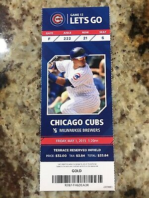 2015 Cubs Full Ticket Stub. Addison Russell First Home Run At Wrigley 5/1/15.