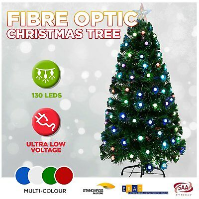 Christmas Lights Tree 130PC LED Xmas Light Fibre Optic Multi Flashing Balls 4FT