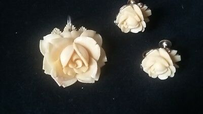 Vintage Carved Celluloid Rose Pendant and Earring Set Screw Back