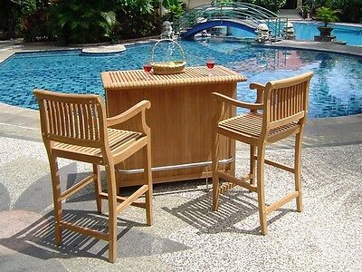 Teak Bar Table Cabinet & 2 Arm Chairs Garden Outdoor Patio Furniture Pool Giva