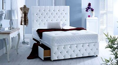 Upholstered Chesterfield Storage Divan Bed 54 Height Headboard Made