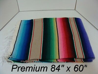 84 x 60 TAN Multi Color Large Sarape Mexican Saltillo Serape Throw Blanket