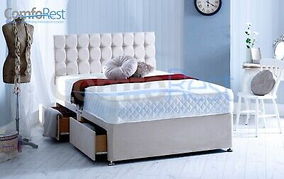Suede Memory Foam Divan Bed Set With Mattress And Free Headboard - Made In Uk
