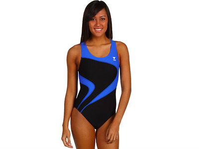 e282dfc216 Tyr Alliance T-Splice Maxback One Piece Swimsuit Black Blue Size 38 New!