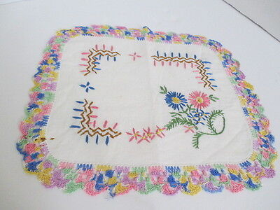 Vintage Hand Embroidered Doily with hand crochet edge - Bright pastels Floral