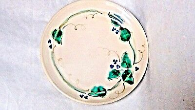 16c ANTIQUE JAPANESE CERAMIC GLAZED PAINTED FLOWERS PLATE W/SIGNATURE ON REVERSE