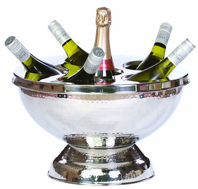 Stainless Steel Champagne Wine Cooler Ice Bowl Table Centrepiece, Holds 6 Bottle