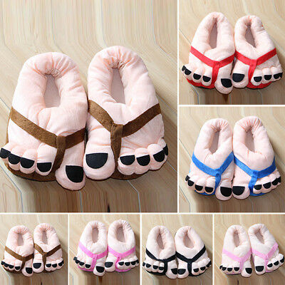 2017 Funny Cute Winter Soft Cartoon Warm Plush Toe Big Feet Home Floor Slippers