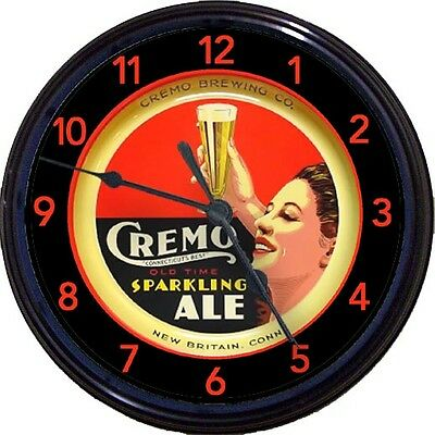Cremo Brewing Co New Britain CT Beer Tray Wall Clock Sparkling Ale Lager New 10""