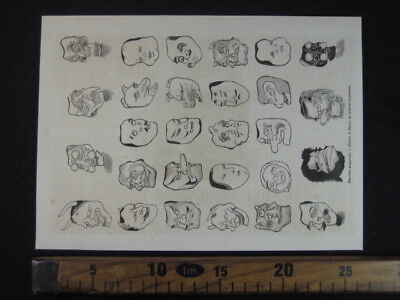 1870 GIAPPONE MASCHERE GIAPPONESI MASKS JAPAN ANTICA STAMPA ENGRAVING Ab