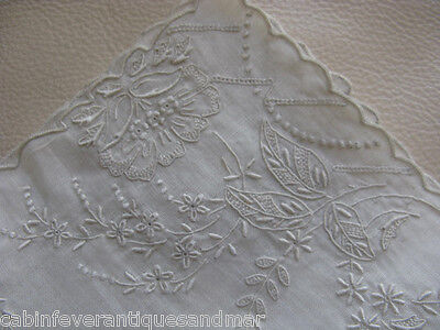 "Victorian Wedding Bridal White Work Embroidery Tambour Lace Hanky 11"" #2"