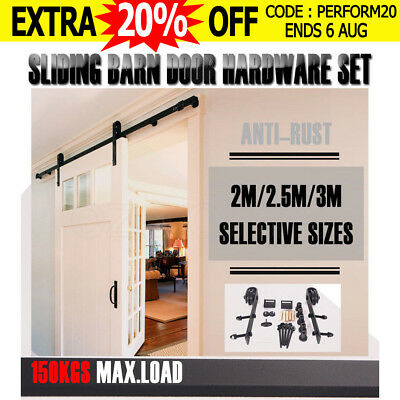 2M 2.5M 3M Sliding Barn Door Hardware Track Set Bedroom Interior Closet Home Kit