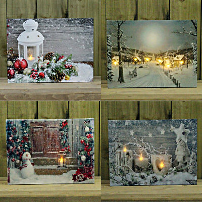 30 x 40cm Christmas Decoration Light Up Flickering LED Canvas Wall Art Picture