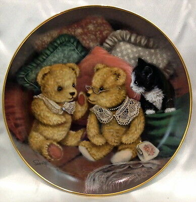 ♡ FREE POST FRANKLIN MINT CABINET PLATE LTD ED BEAR FACTS by SUE WILLIS WITH COA