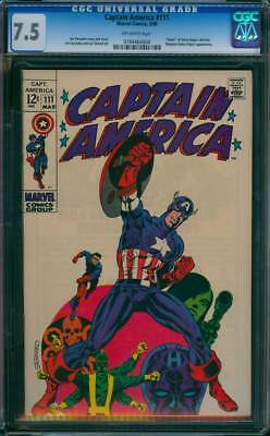 Captain America # 111  Classic Jim Steranko Cover !   CGC 7.5 scarce book !