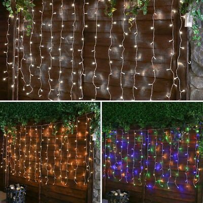 2M Outdoor Garden Battery Operated Christmas Curtain Led Fairy String Lights