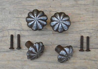 VINTAGE Victorian Floral Cast Iron door cabinet drawer Knobs handles rustic 4pcs