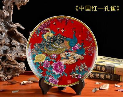 """10"""" China jingdezhen Hand painting Porcelain plate Peacock Red"""