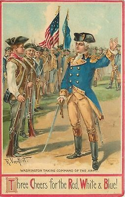 Patriotic~Artist R Veen Fliet~Washington Takes Command of the Army~Flag~Emboss