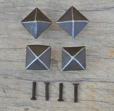 Vintage victorian PYRAMID cast iron door cabinet drawer knobs handles rustic 4pc