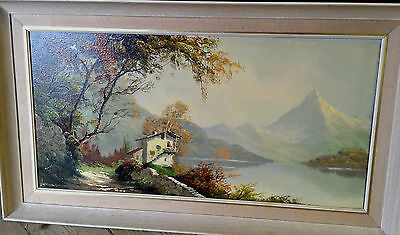 Clarence Vernon French Oil Painting on Canvas 1960s Alps Landscape ? 37 inch