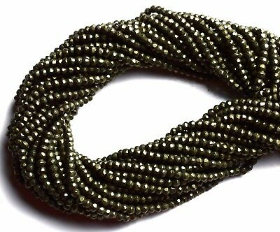 Natural Gemstone Golden Pyrite 3.5MM Approx. Micro Faceted Rondelle Beads 13""