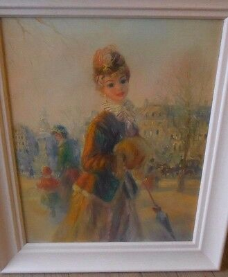 John Strevens Vintage Retro Oil Painting on Canvas 1960s 22 inch French Lady
