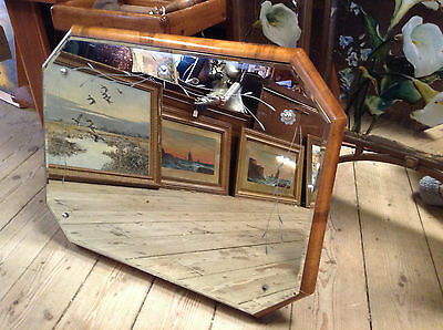Art Deco Mirror 1930s/ 50s Walnut Veneer Frame Etched 26 inch rare