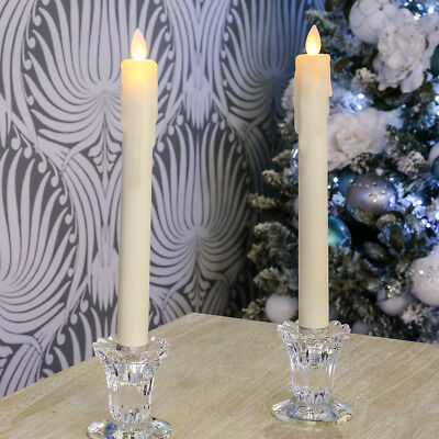 Set Of 2 Indoor Battery Operated 27Cm Dancing Flame Tapered Led Candle Lights