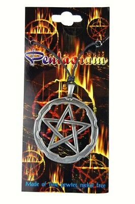 Pewter Necklace Pentagram On Corded Necklace