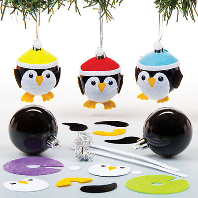 Penguin Bauble Kits - Creative Xmas Toys for Kids (Pack of 6)
