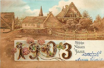 New Year~Clover Clings To 1903 Date~Walled Village~Folks~Gold Leaf~Emb~Germany