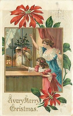 Christmas~Santa With Lantern At Window~Brown Coat~Victorian Mother Daughter~Emb