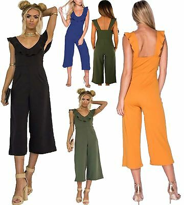 Womens Plain Cropped V Neck Frill Culotte All In One Jumpsuit Ladies Playsuit