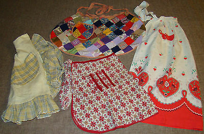4 Vtg 1950s Kitchen Half Aprons Yellow Plaid Valentine Hearts Handmade Patchwork