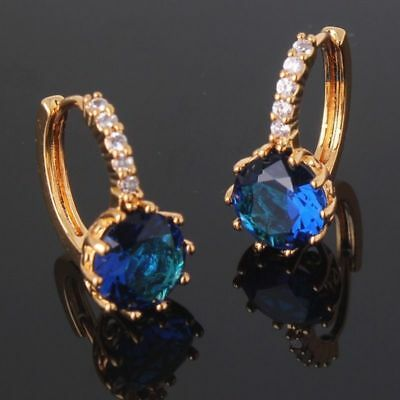 18K Gold Blue Sapphire Diamond Hoop Leverback Earrings  N84