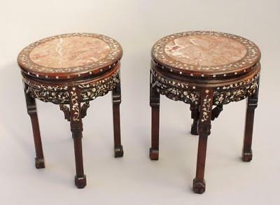 Pair of Antique Chinese Hardwood & Marble Tables / Stands Mother of Pearl Inlaid