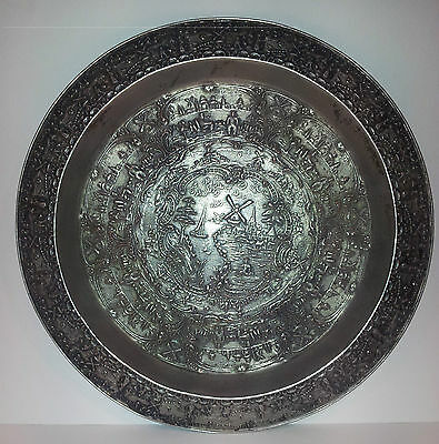 Old Nickel or Pewter Plated Copper Tray with Dutch Windmill Design