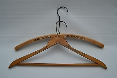 Two (2) Vintage Advertising Imperial Cleaners Roxy Clothes Wood Hangers