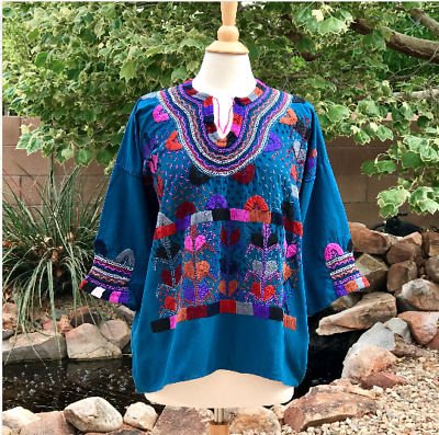 Size L Mexican blouse embroidered with Corn design Handmade blouse