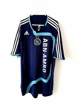 Ajax Away Shirt 2007. XL. Adidas. Blue Adults Short Sleeves Football Top Only.