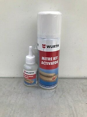 WURTH MITRE KIT AND ACTIVATOR 50g SUPER GLUE 200ml ACTIVATOR + FREE DEBONDER