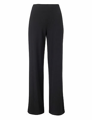 Ladies Wide Leg Pull On Elasticated Waist Trousers Black Navy Size 12 - 26 (E11)