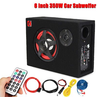 "6"" 350W Under-Seat Car Audio Subwoofer Powered Speaker Enlosure Stereo Woofer"