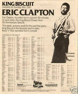 1978 Eric Clapton In A King Biscuit Promo Print Ad