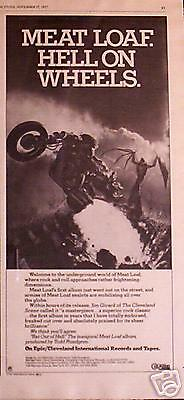 """1977 Meatloaf """"hell On Wheels"""" Album Promo Ad"""