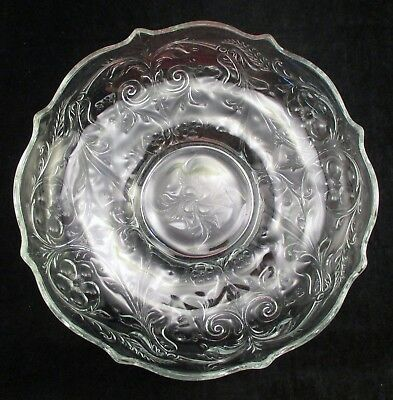 """Vtg McKee Glass Co. Early American Rock Crystal Depression Glass 10 3/4"""" Bowl"""